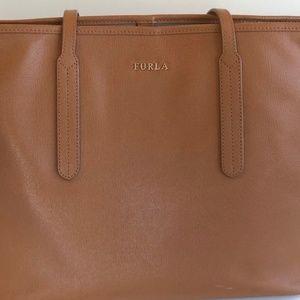 Furla Warm Brown Italian Leather Tote Bag